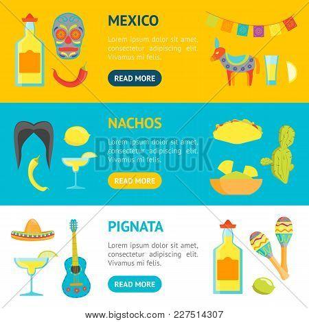 Cartoon Symbol Of Mexico Banner Horizontal Set Welcome Travel Concept American Culture. Vector Illus