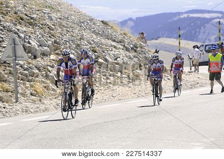 Mont-ventoux, France - September 1, 2016: Many Cyclist Climb Mont Ventoux As A Challenge Up To 1912