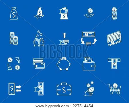 Symbol Of Money Finance Currency White Icons Set Cash Banknote And Coins Economy Business Concept. V