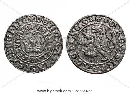 medieval coin Prague groschen-700 years old coin