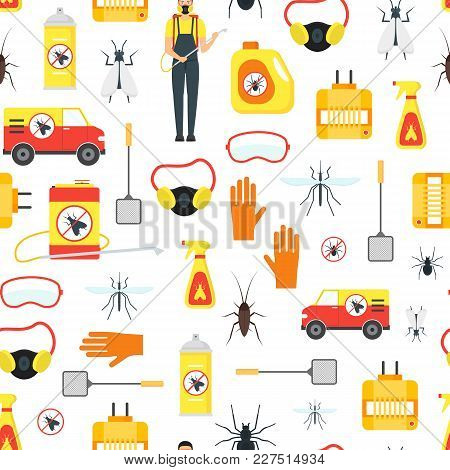 Cartoon Pest Control Service Business Seamless Pattern Background Equipment And Working Set Safety H