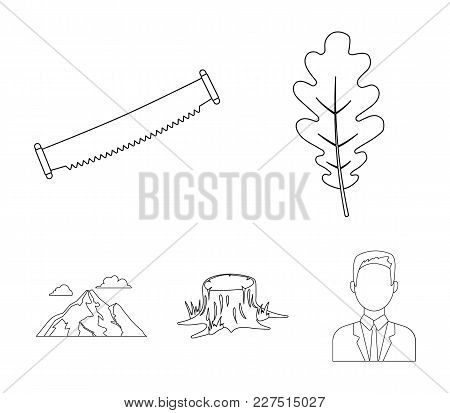 Oak Leaf, Saw, Stump, Mountain.forest Set Collection Icons In Outline Style Vector Symbol Stock Illu