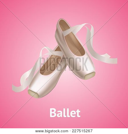 Realistic Detailed Ballet Pointe Shoes Fashion Pair On A Pink Background For Dance. Vector Illustrat