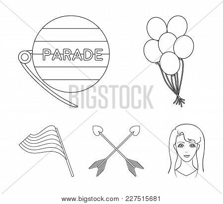 Balls, Gay Parade, Arrows, Flag. Gayset Collection Icons In Outline Style Vector Symbol Stock Illust