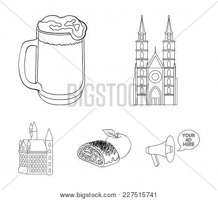 Architecture, Building, Cathedral, And Other  Icon In Outline Style.germany, History, Cooking, Icons