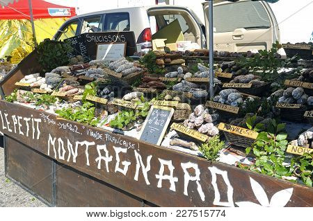 Mont-ventoux, France - September 1, 2016: Deli Display On A Sales Stand Of French Mountain Regional