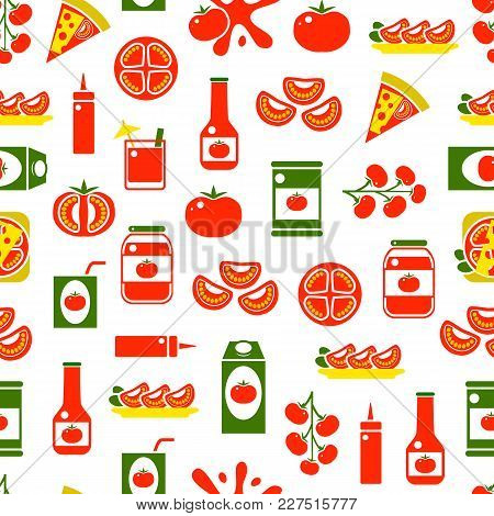 Cartoon Tomato Products Seamless Pattern Background Include Of Pizza, Ketchup And Juice Flat Style D