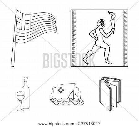 Greece, Running, Wine, Flag .greece Set Collection Icons In Outline Style Vector Symbol Stock Illust