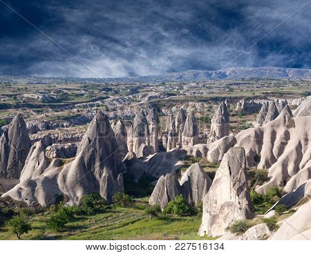 Unique Geological Formations With Dovecotes In Cappadocia, Turkey. Cappadocian Region With Its Valle