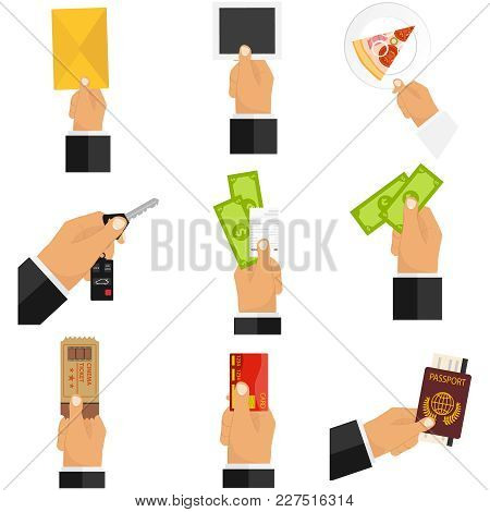 Giving Hand. The Hand Holds The Money, The Hand Gives The Object. Flat Design, Vector Illustration,