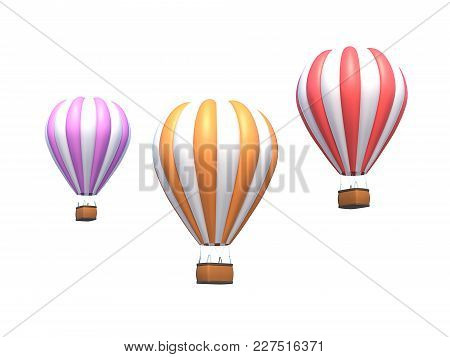 Hot Air Balloon, Colorful Aerostat Isolated On White. 3d Illustration