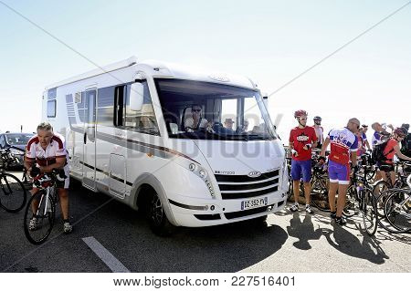 Mont-ventoux, France - September 1, 2016: Motorhome At The Summit Of Mont Ventoux Having Trouble Get