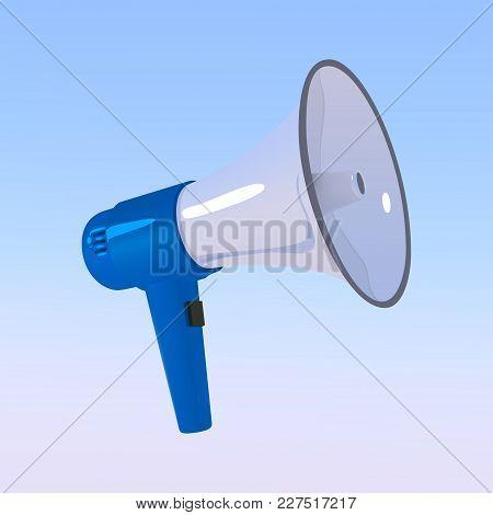 Megaphone. Blue With A White Bullhorn. Loudspeaker Isolated On A Blue Sky Background. Vector Illustr