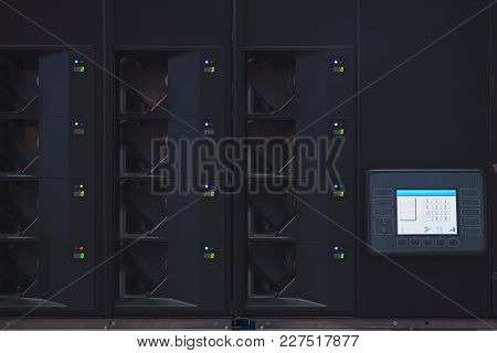 Professional Banking Equipment For Calculating Banknotes And Cash. A Liquid Crystal Display Of A Spe