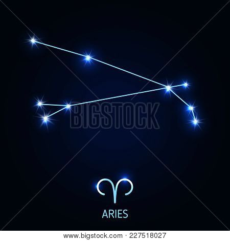 Aries Constellation And Zodiac Sing. Vector Illustration.