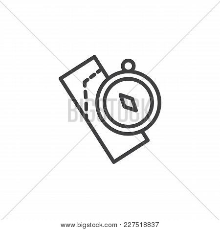 Compass And Map Outline Icon. Linear Style Sign For Mobile Concept And Web Design. Nautical Compass