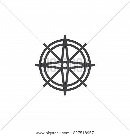 Wind Rose Outline Icon. Linear Style Sign For Mobile Concept And Web Design. Compass Simple Line Vec
