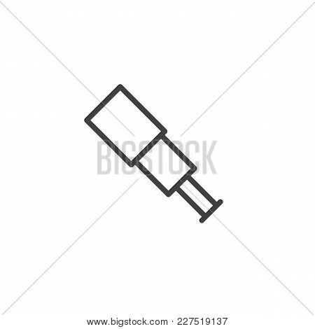 Spyglass Outline Icon. Linear Style Sign For Mobile Concept And Web Design. Telescope Simple Line Ve
