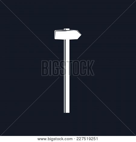 Silhouette Hammer Or Sledgehammer , Claw Hammer On A Black Background, Hand Industrial Tool , Vector
