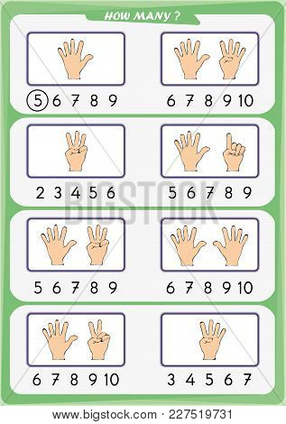 Worksheet For Preschool Children, Count The Number Of Objects, Learn The Numbers 1, 2, 3 4 5 6 7 8 9
