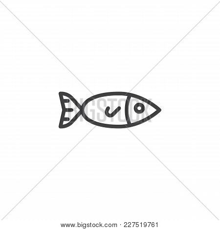 Fish, Seafood Outline Icon. Linear Style Sign For Mobile Concept And Web Design. Fishing Simple Line