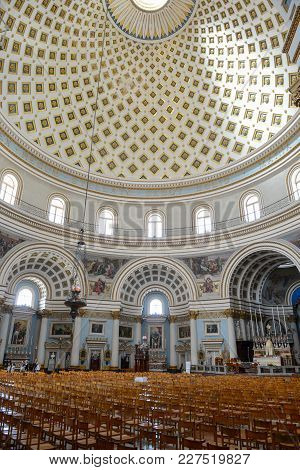The Interior Of The Dome In Mosta Church On Malta