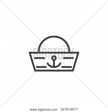 Sailor Hat Outline Icon. Linear Style Sign For Mobile Concept And Web Design. Forage-cap Simple Line