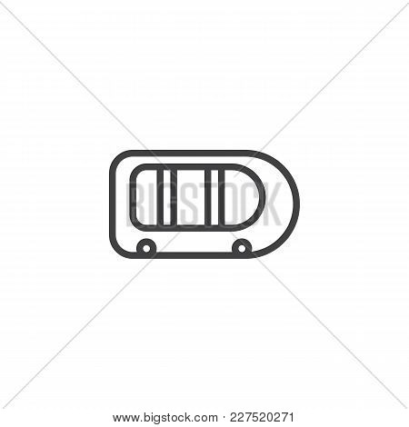 Inflatable Boat Outline Icon. Linear Style Sign For Mobile Concept And Web Design. Rubber Raft Simpl