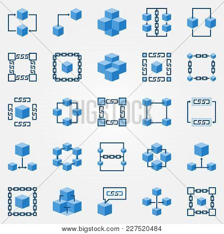 Blockchain Blue Icons Set - Vector Block Chain Technology Concept Flat Symbols. Chain And Cube Desig