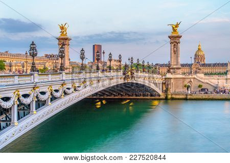 Alexandre 3 Bridge In Paris, France At Dusk