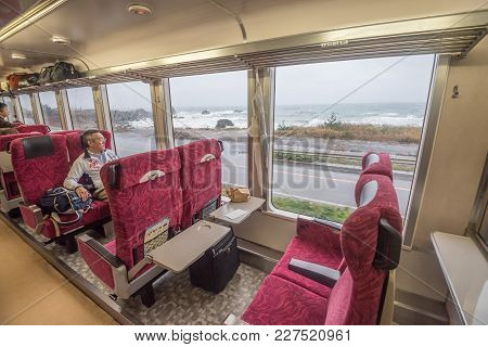 Akita, Japan - October 23,2017 : Interior Of East Japan Railway Gono Line Resort Shirakami Sightseei
