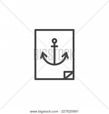 Navy Anchor Sticker Outline Icon. Linear Style Sign For Mobile Concept And Web Design. Marine Simple