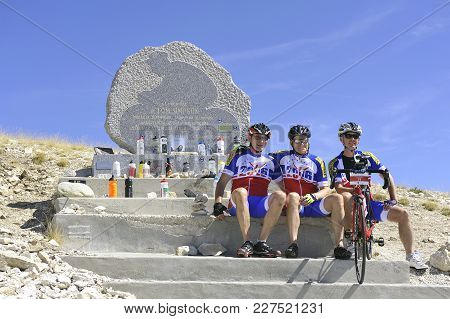 Mont-ventoux, France - September 1, 2016: Commemorative Stela Of Tom Simpson Died On The Tour De Fra