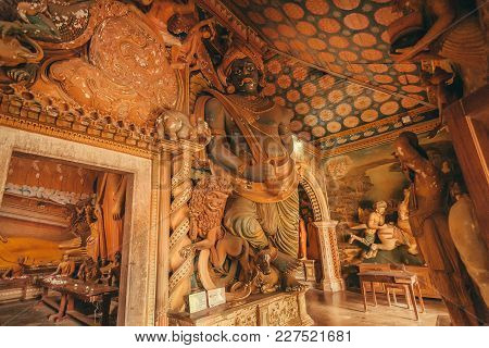 Dikwella, Sri Lanka - Dec 30, 2017: Myth Sculpture And Artworks In 18th Century Temple With Colorful