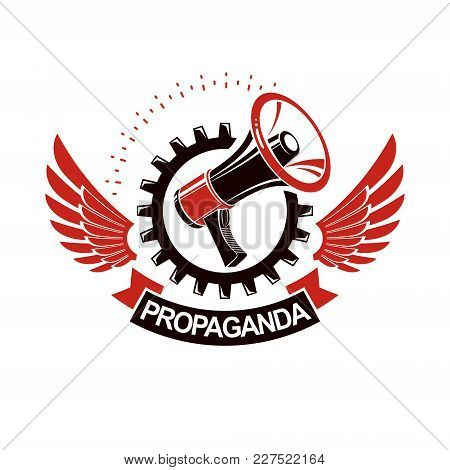 Vector Winged Logo Composed With Megaphone Equipment Surrounded By Engineering Cog Wheel. Proletaria