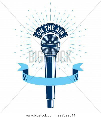 3d Microphone Vector Illustration Isolated On White. Radio Music Station Advertising Emblem, On The