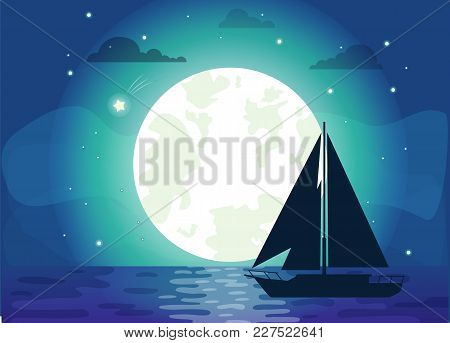 Dark Silhouette Of Ship With Big Glowing Moon Vector Illustration Of Black Boat, Shiny Stars Lot Of