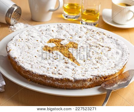 Santiago Cake, Typical From The Spanish Region Of Galicia.