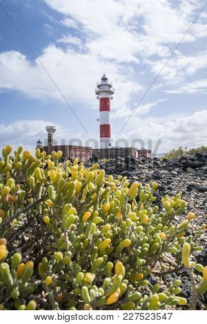 El Toston Lighthouse In The North Of Island Of Fuerteventura Under Beautiful Sky