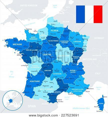 Map Of France And Flag - Highly Detailed Vector Illustration