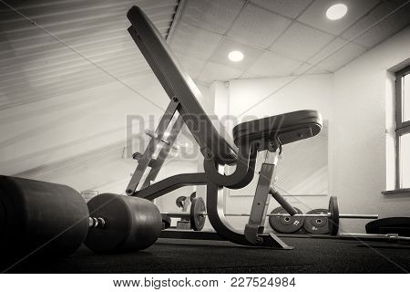 Empty Gym Room Interior With Equipment, Sepia Toning