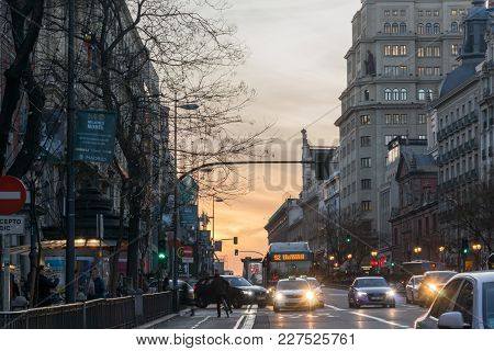 Madrid, Spain - January 23, 2018:  Sunset View Of Alcala Street In City Of Madrid, Spain