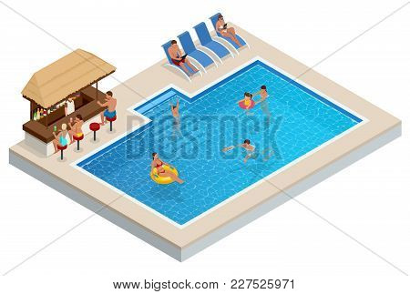 Isometric Aqua Park With Bar, Water Pool, People Or Visitors. Vector Illustration Isolated On White