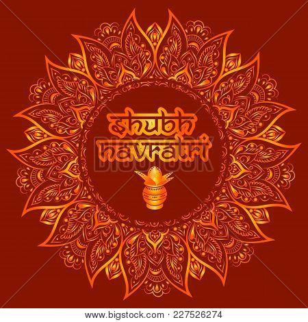 Illustration Of Shubh Navratri Celebration Poster Or Banner Background.