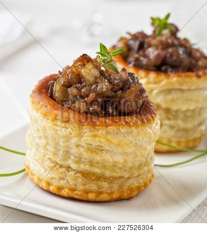 Vol-au-vent Stuffed Puff Pastry Appetizer On A Plate.