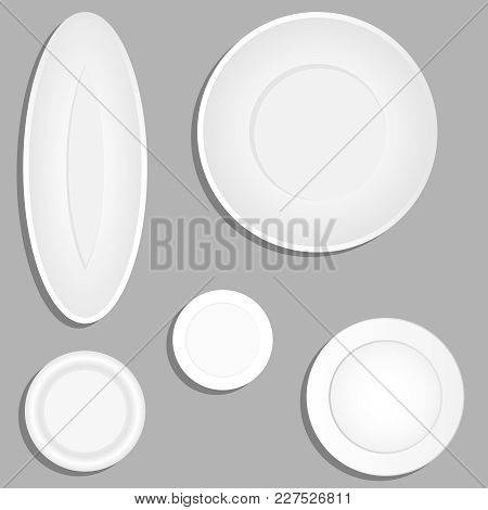 Plates, A Set Of Realistic Plates With A Shadow. Flat Design, Vector Illustration, Vector.