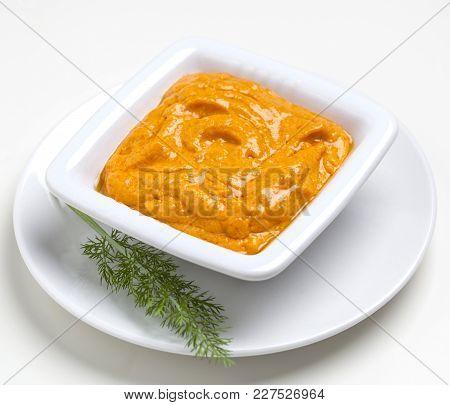 Xato Sauce Or Romesco Sauce From The Spanish Catalan Region. Contains Tomato, Garlic, Almonds, Hazel