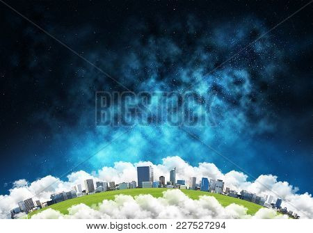 Abstract Panoramic View At Planet Earth In Clouds With Buildings And Aerostats From Space. Dark Spac