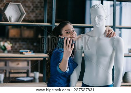 Smiling Woman Taking Selfie Together With Mannequin, Perfect Relationship Dream Concept