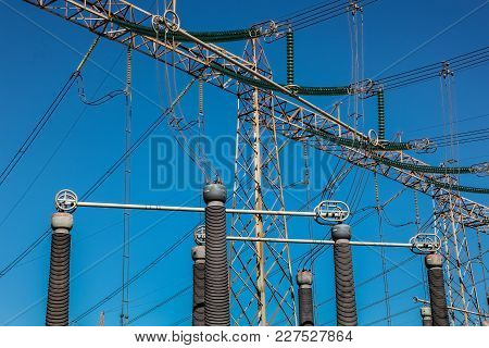 High Voltage Power Lines At An Electricity Transmission Facility